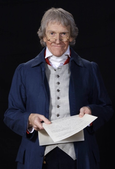 Thomas Jefferson back from 1801, sneaks into a theater to see his old friend Alexander Hamilton