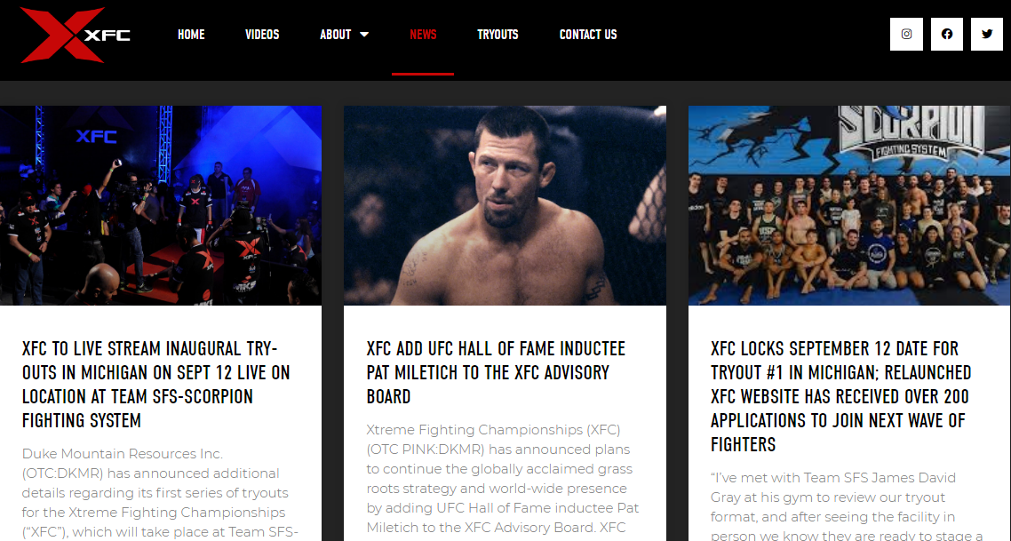Duke Mountain Resources Inc. (OTC: DKMR) Becomes the Xtreme Fighting Championships, Premier Global Provider of Mixed Martial Arts Sports Events; Partnered with Top Broadcasters Including HBO, ESPN and Major Latin American Networks